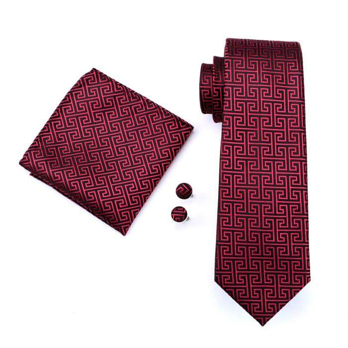 Set cravata + batista + butoni matase naturala model negru cu rosu 554 [0]