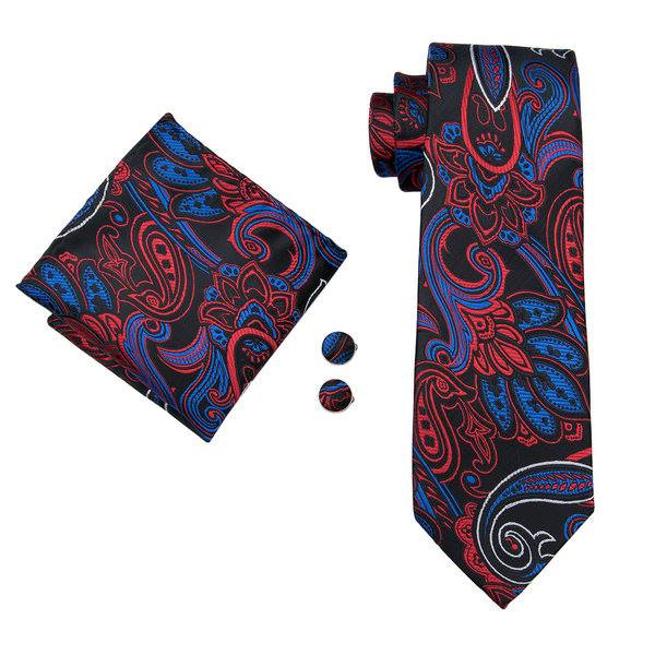 Set cravata + batista + butoni matase naturala model negru cu rosu si albastru 1704 [0]