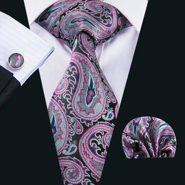 Set cravata + batista + butoni matase naturala model negru cu roz 1614 [1]