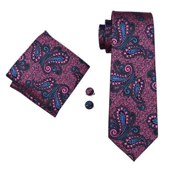 Set cravata + batista + butoni matase naturala model negru cu roz 1696 [0]
