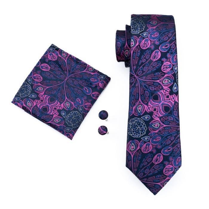 Set cravata + batista + butoni matase naturala model negru cu roz 483 [0]