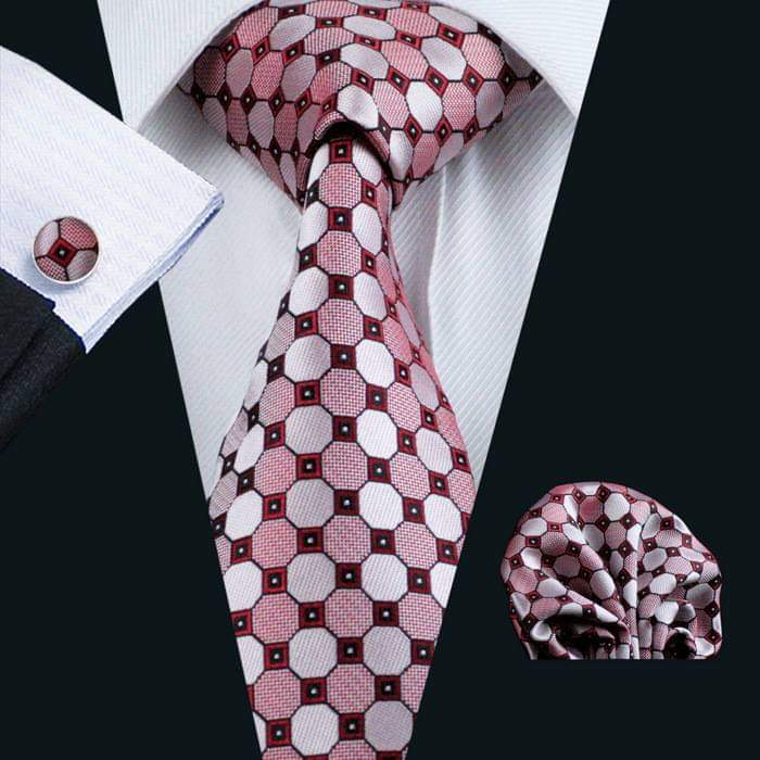 Set cravata + batista + butoni matase naturala model rosu 538 [1]