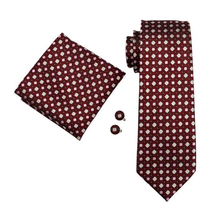 Set cravata + batista + butoni matase naturala model rosu 575 [0]