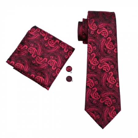 Set cravata + batista + butoni matase naturala model floral negru cu rosu 314 [0]