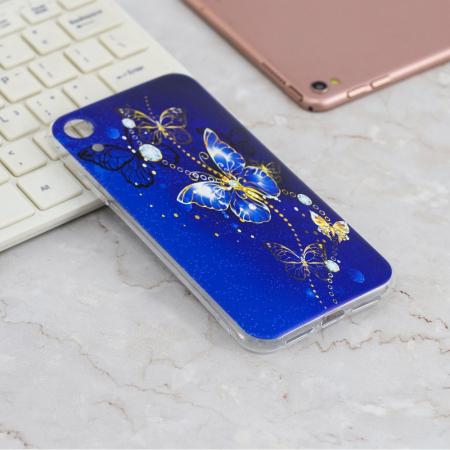 Husa silicon design fluture albastru Iphone XR2