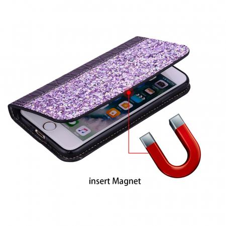 Husa carte paiete croco Samsung A50, Violet1