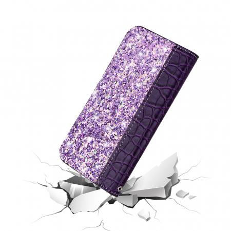 Husa carte paiete croco Samsung A50, Violet2