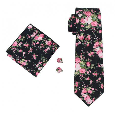 Set cravata + batista + butoni matase naturala model floral negru 1359 [0]