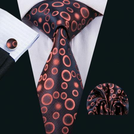 Set cravata + batista + butoni matase naturala model negru-portocaliu 1520 [1]