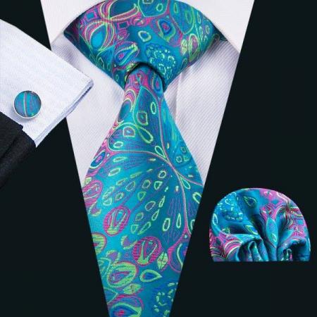 Set cravata + batista + butoni matase naturala model verde 1592 [1]