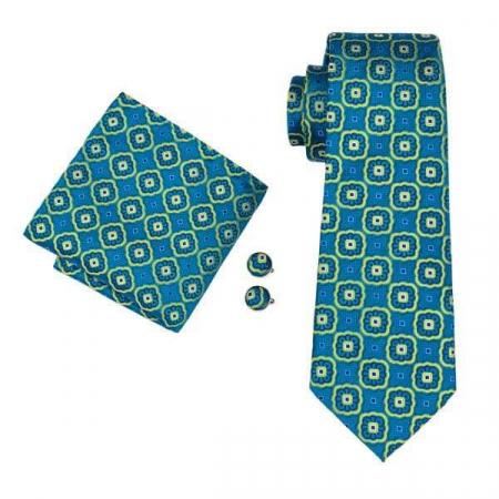 Set cravata + batista + butoni matase naturala model albastru cu galben 1612 [0]