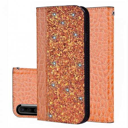 Husa carte paiete croco Samsung A50, Orange0