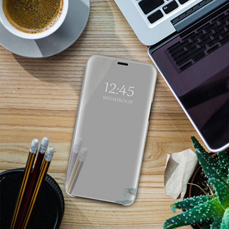 Husa clear view Samsung A7 (2018), Silver [3]