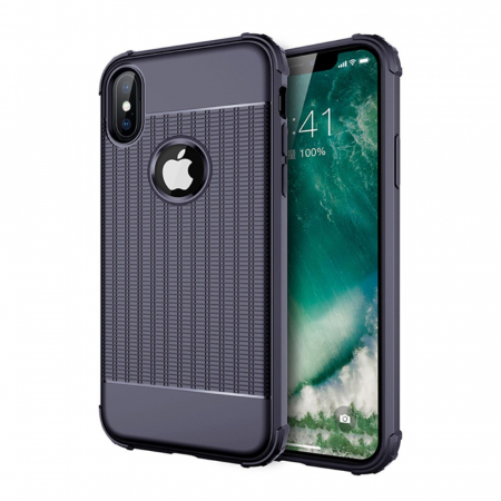 Husa silicon anti shock cu striatii Iphone Xs Max - 2 culori1