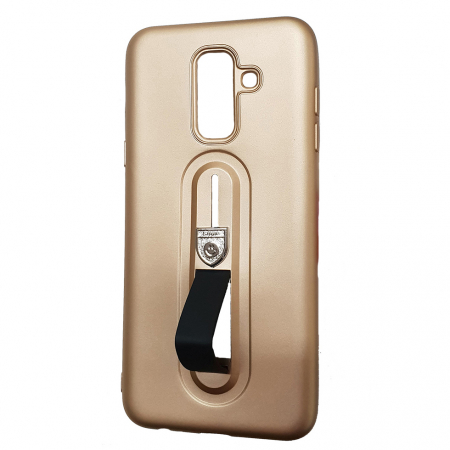 Husa silicon cu suport Samsung A6 plus (2018), Gold1