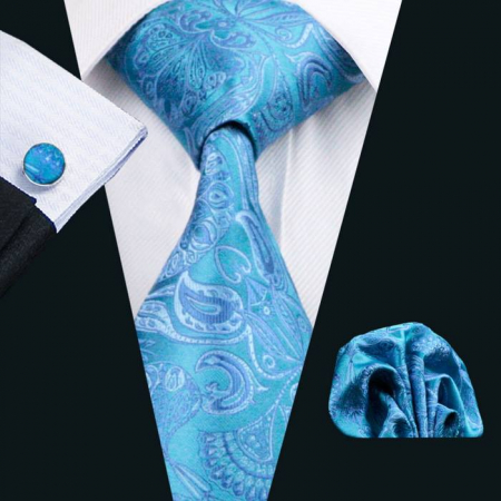 Set cravata + batista + butoni matase naturala model albastru 368 [1]