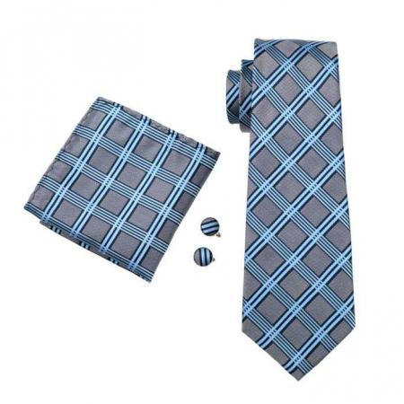 Set cravata + batista + butoni matase naturala model albastru 400 [0]