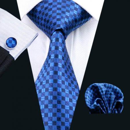 Set cravata + batista + butoni matase naturala model albastru 561 [1]