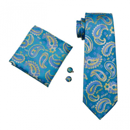 Set cravata + batista + butoni matase naturala model albastru 578 [0]