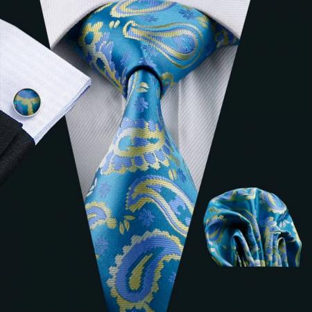 Set cravata + batista + butoni matase naturala model albastru 578 [1]