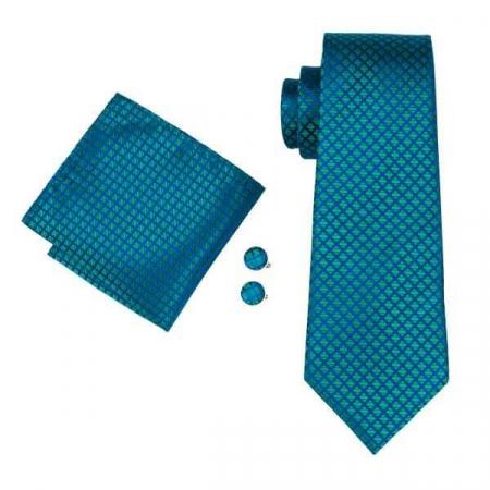 Set cravata + batista + butoni matase naturala model albastru cu verde 1610 [0]