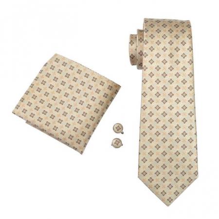 Set cravata + batista + butoni matase naturala model crem 582 [0]