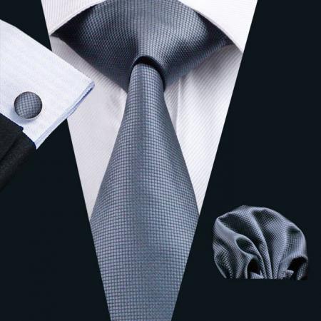Set cravata + batista + butoni matase naturala model gri 386 [1]