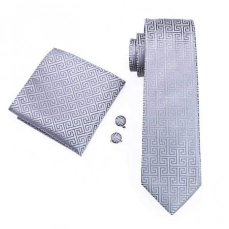 Set cravata + batista + butoni matase naturala model gri 484 [0]