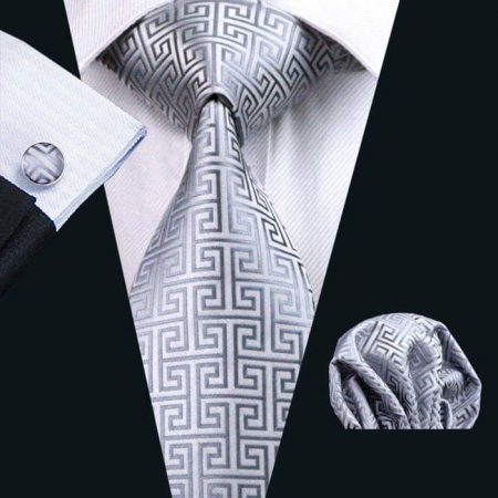 Set cravata + batista + butoni matase naturala model gri 484 [1]