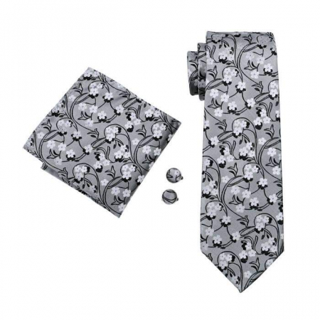 Set cravata + batista + butoni matase naturala model gri 996 [1]