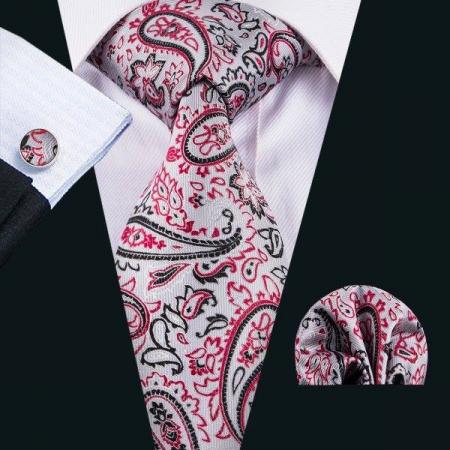 Set cravata + batista + butoni matase naturala model gri cu rosu 1624 [1]