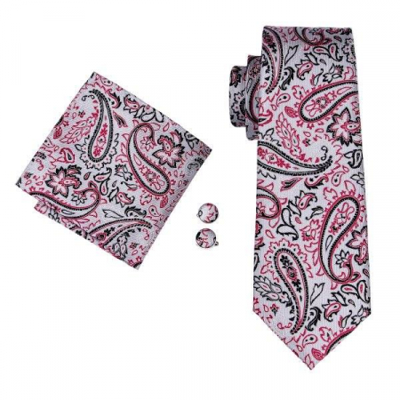 Set cravata + batista + butoni matase naturala model gri cu rosu 1624 [0]