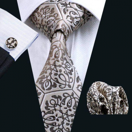 Set cravata + batista + butoni matase naturala model maro 580 [1]
