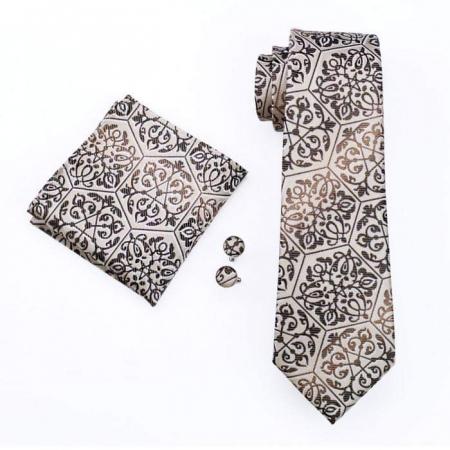Set cravata + batista + butoni matase naturala model maro 580 [0]