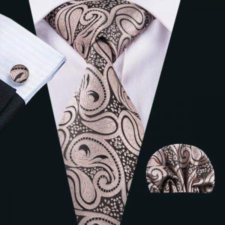 Set cravata + batista + butoni matase naturala model maro cu crem 1580 [1]