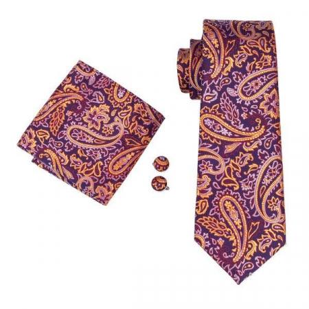 Set cravata + batista + butoni matase naturala model mov 1626 [2]