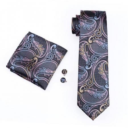 Set cravata + batista + butoni matase naturala model negru 454 [0]
