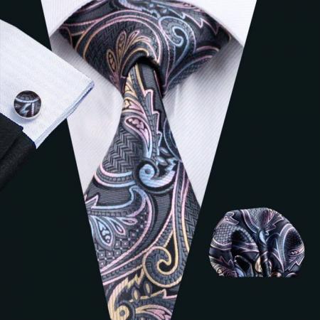 Set cravata + batista + butoni matase naturala model negru 454 [1]