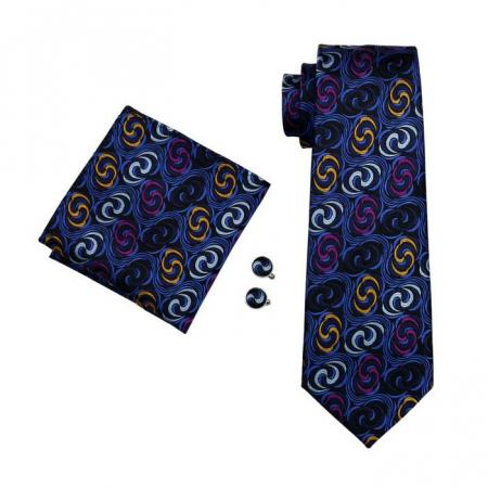 Set cravata + batista + butoni matase naturala model negru cu albastru 241 [0]