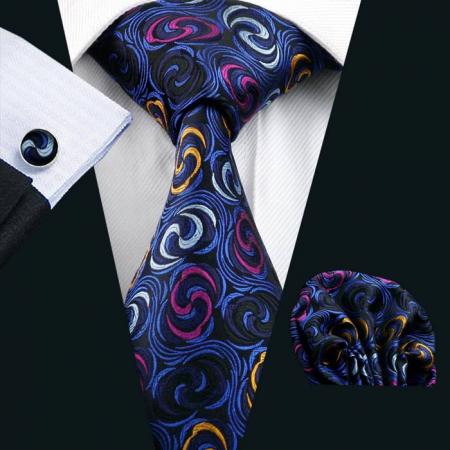 Set cravata + batista + butoni matase naturala model negru cu albastru 241 [1]