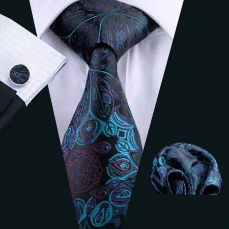 Set cravata + batista + butoni matase naturala model negru cu albastru 612 [1]