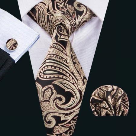 Set cravata + batista + butoni matase naturala model negru cu maro 1621 [1]