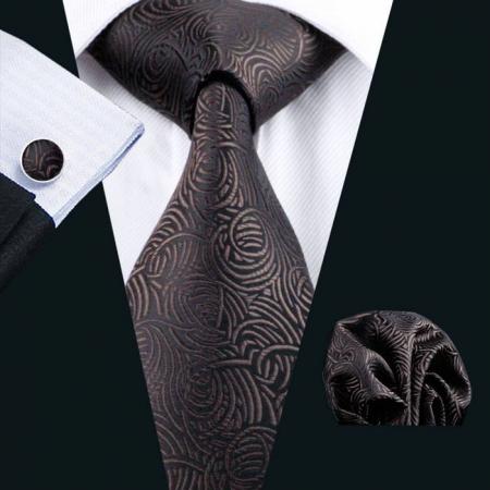 Set cravata + batista + butoni matase naturala model negru cu maro 548 [1]