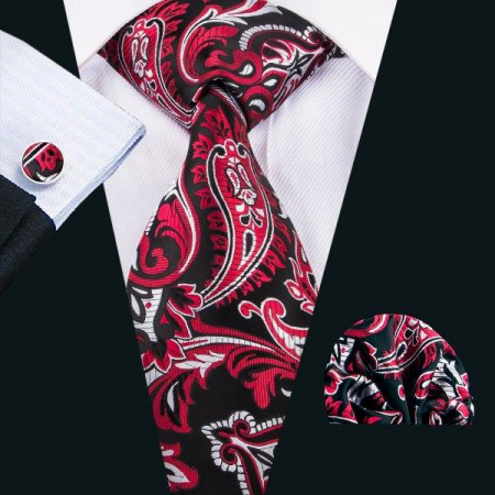Set cravata + batista + butoni matase naturala model negru cu rosu 1583 [1]
