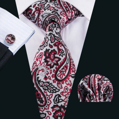Set cravata + batista + butoni matase naturala model negru cu rosu 1627 [1]