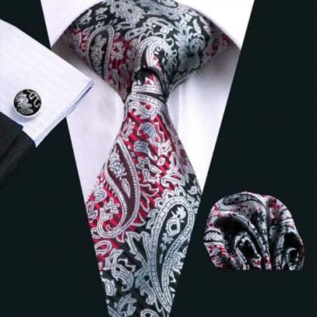 Set cravata + batista + butoni matase naturala model negru cu rosu 359 [0]