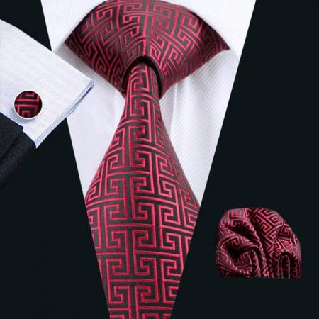 Set cravata + batista + butoni matase naturala model negru cu rosu 554 [1]