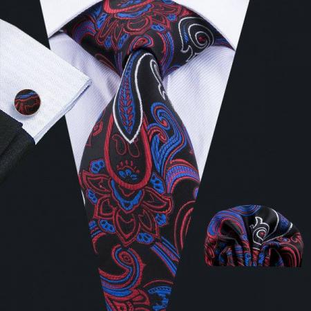 Set cravata + batista + butoni matase naturala model negru cu rosu si albastru 1704 [1]