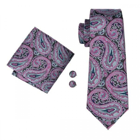Set cravata + batista + butoni matase naturala model negru cu roz 1614 [0]