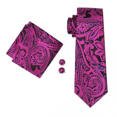Set cravata + batista + butoni matase naturala model negru cu roz 1619 [0]